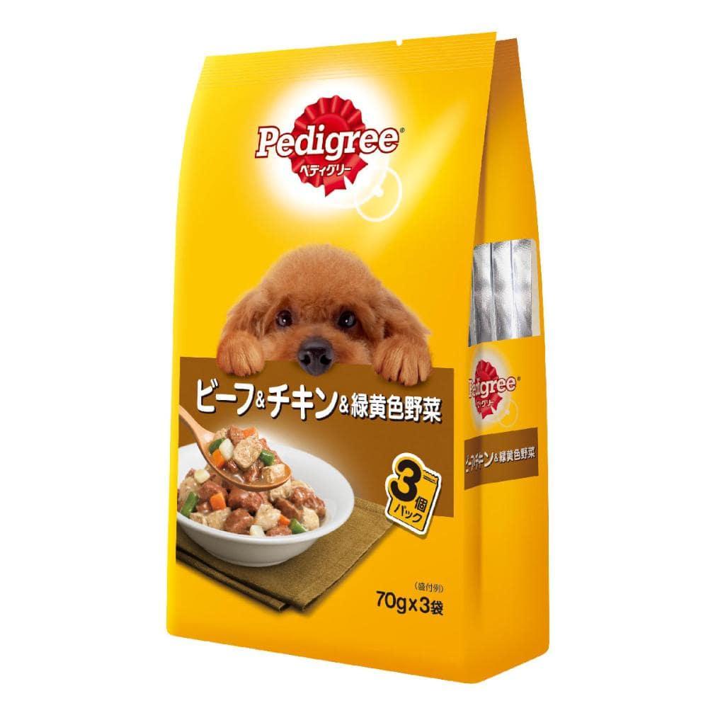 マース ぺディグリーパウチ 成犬用 ビーフ&チキン&緑黄色野菜 70g×3袋入り