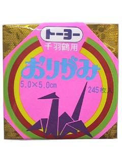 トーヨー ミニ千羽鶴折紙 5cm