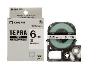 キングジム テプラPROテープ 6mm 白/黒文字 SS6K