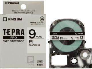 キングジム テプラPROテープ 9mm 白/黒文字 SS9K