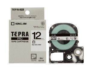 キングジム テプラPROテープ 12mm 白/黒文字 SS12K