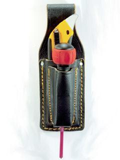 黒革 カッター2段ケース TC-412