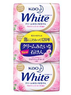 花王 石鹸 ホワイト アロマティックローズの香り バスサイズ 3個パック