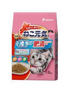 ねこ元気 毛玉ケア肥満が気になる猫用まぐろ・チキン・緑黄色野菜入り1.8kg