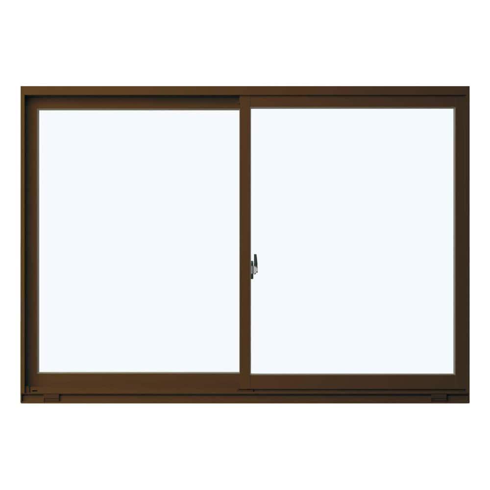 引違い窓 W1235×H570mm ガラス:型ガラス 枠色:ブラウン アングルなし