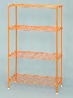 【クリックでお店のこの商品のページへ】カラーメタルラック 4段 CMM-55124 パッションオレンジ
