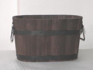木製オーバルプランター ダークブラウン 37cm