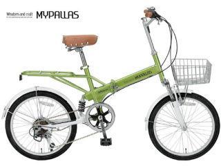 折畳自転車20インチ 6段ギア Wサス M 60B GR ライトグリーン (お客様組立商品)