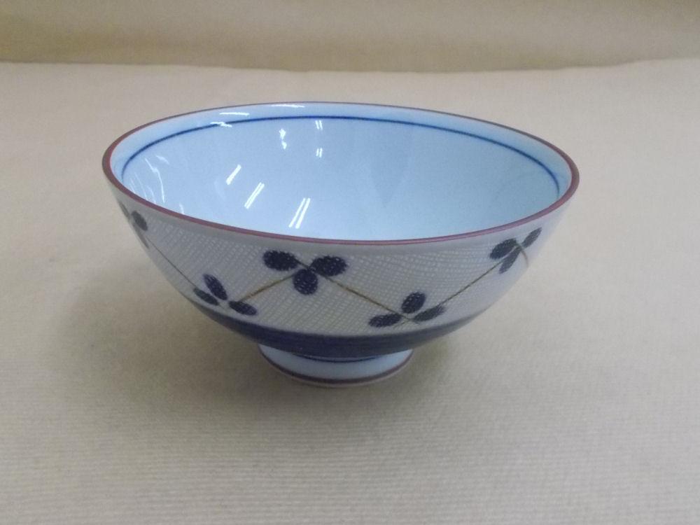 【美濃焼】茶碗 三つ葉 ブルー