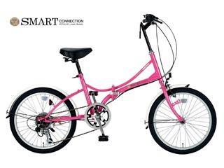 折畳自転車20インチ・6段ギア SC 08 PK ピンク (お客様組立品)