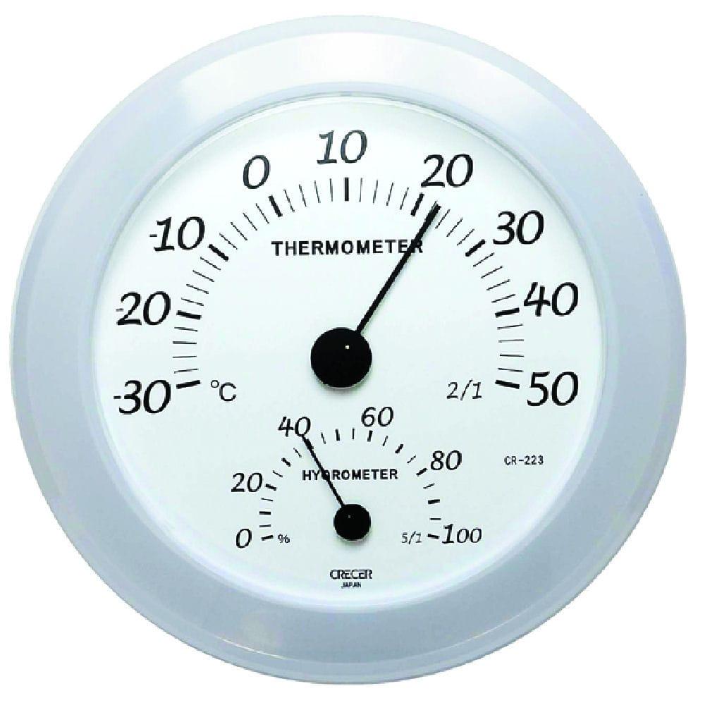 壁掛用アナログ温湿度計 ホワイト CR-223W