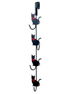 ドアハンガー 猫 4連 ブラック