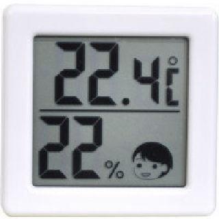 小さいデジタル温湿度計 ホワイト O-257WT