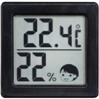 小さいデジタル温湿度計 ブラック O-257BK