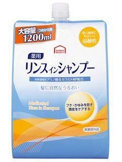 コメリセレクト 薬用リンスインシャンプー つめかえ用 1200ml