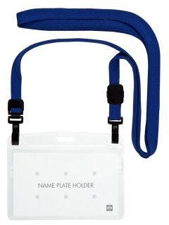 オープン 吊り下げ名札 ダブルフック式名刺サイズ 1P 青