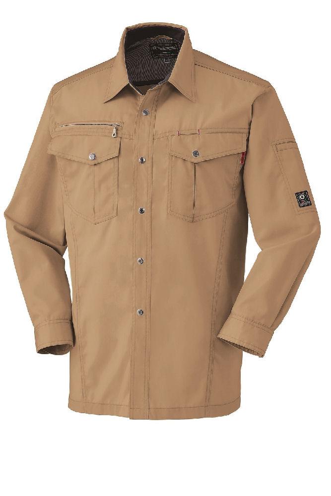 T/C 制電長袖シャツ 25593 キャメル SS
