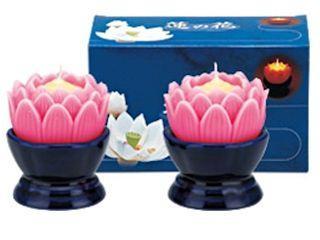マルエス 蓮の花 大 ピンク 燭台付 2個入