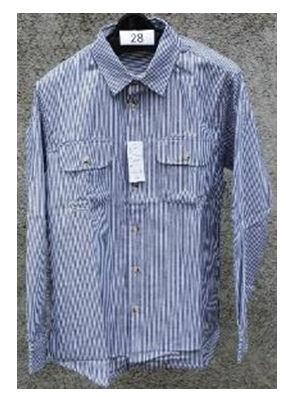 紳士ヒッコリーシャツ 紺 L