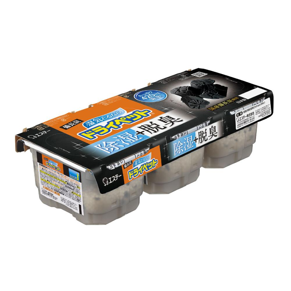 エステー ドライペット除湿剤 備長炭 420ml×3個パック