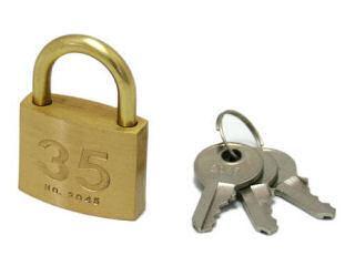 シリンダー南京錠 35mm 鍵番指定 3本キー