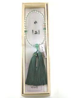 数珠「京念珠」【女性用】 水晶 片手7mm 翡翠仕立 正頭トクサ
