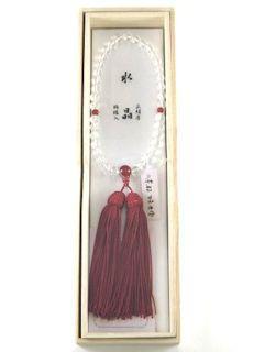 数珠「京念珠」【女性用】 水晶 片手7mm 瑪瑙仕立 正頭ワイン