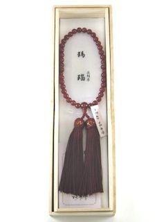 数珠「京念珠」【女性用】 瑪瑙 片手7mm 共仕立 正頭エンジ