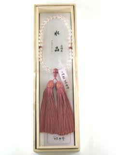 数珠「京念珠」【女性用】 水晶 片手7mm ローズジャスパー仕立 正頭珊瑚