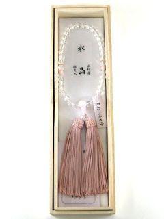 数珠「京念珠」【女性用】 水晶 片手7mm 桜貝仕立 正頭灰桜