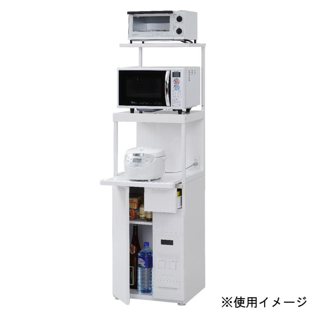 エムケー精工 MKレンジ台 ファインキッチン 米びつ12kg付 幅48×奥行50×高さ166cm SKU-311W