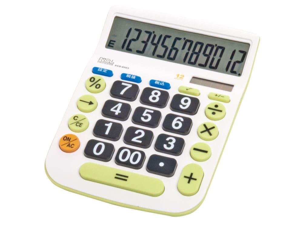 ナカバヤシ 12桁電卓 大型キー Lサイズ ECD-8503G