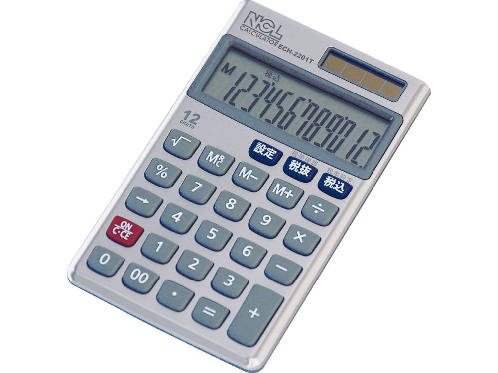 ナカバヤシ 12桁電卓 ハンディ ECH-2201T