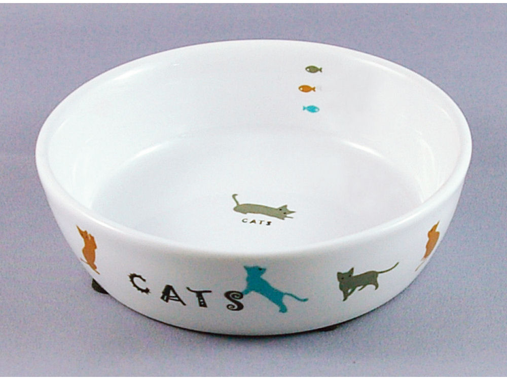 マルカン 猫用陶器食器 遊ぶ猫 CT-204