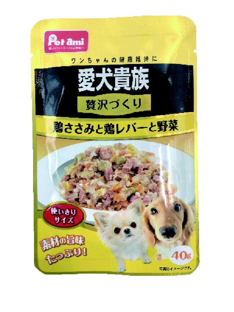 Pet ami 愛犬貴族パウチ 贅沢づくり 鶏ささみと鶏レバーと野菜 40g