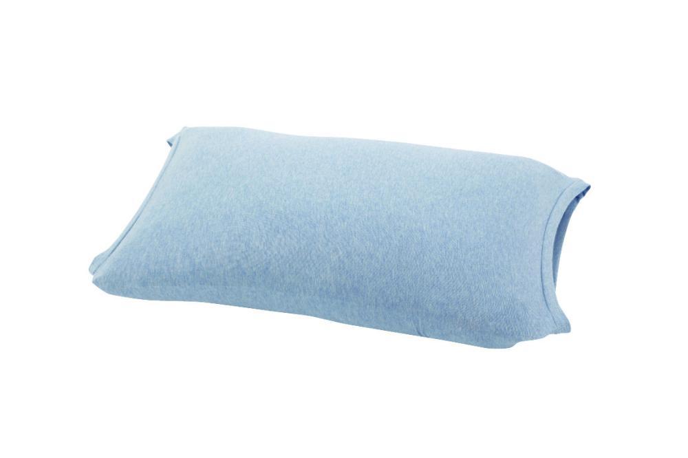伸びるニット枕カバー 筒型 ブルー