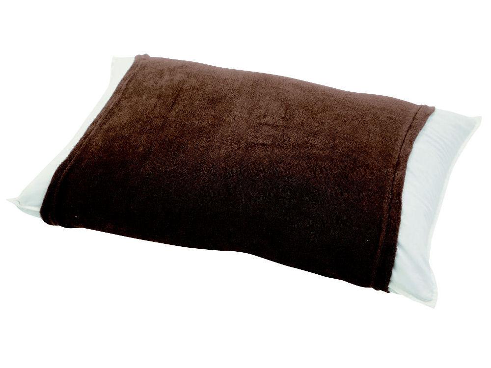 伸びるパイル枕カバー 筒型 ブラウン