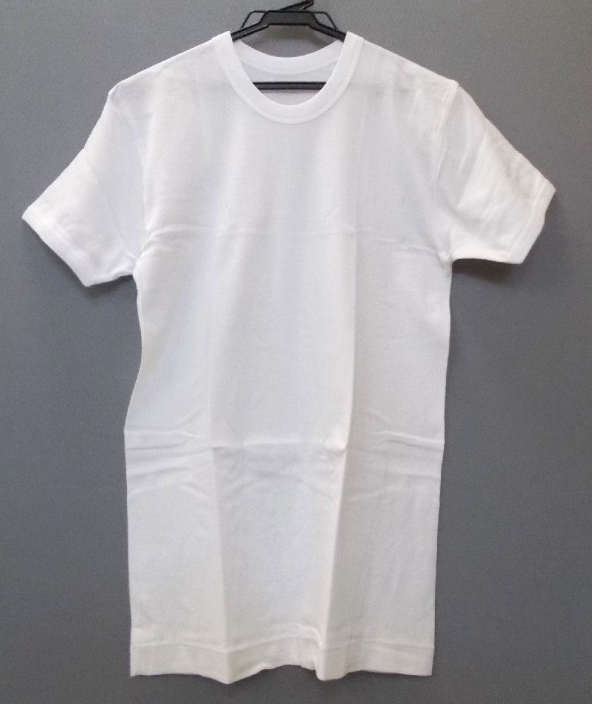 フライス半袖 丸首 白 2枚組 L