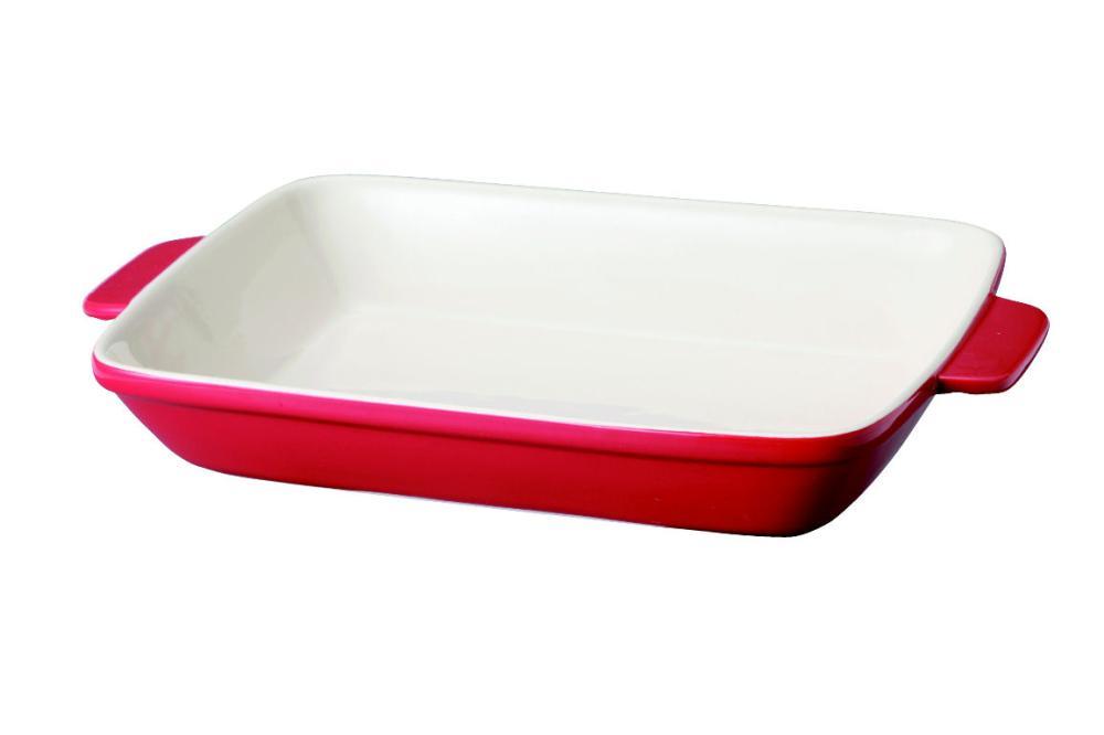 オーブンシェフ 耐熱角皿 26×20cm レッド