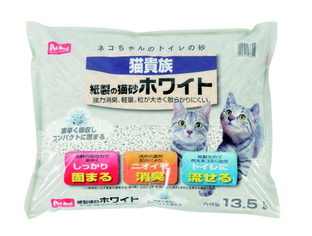 Petami 猫貴族紙製の猫砂 ホワイト 13.5L