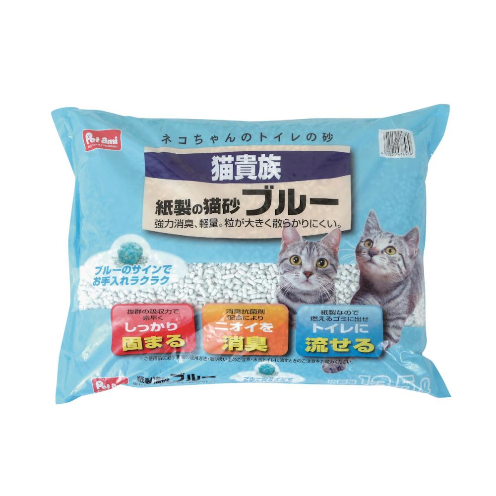 Pet ami 猫貴族紙製の猫砂 ブルー 13.5L