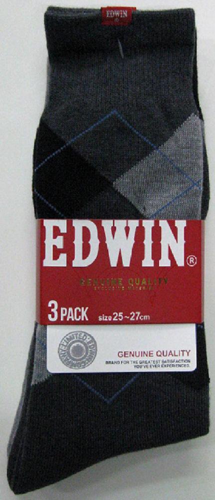 紳士エドウィン3Pアーガイルクルー丈24~26cm