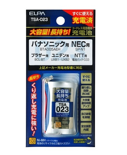 ELPA 大容量長持ち充電池 TSA-023