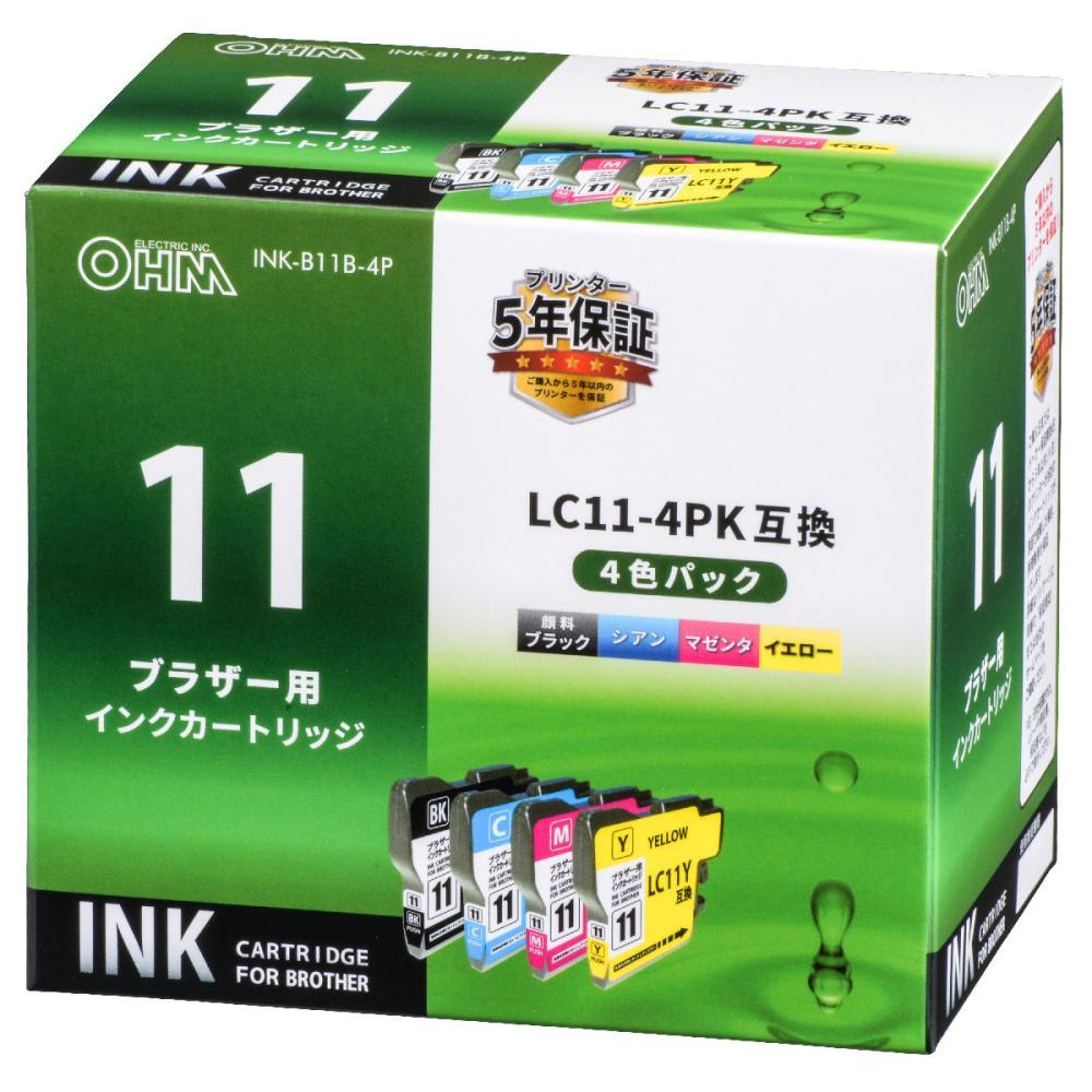 オーム電機 ブラザー 互換インクカートリッジ LC11用 4色パック