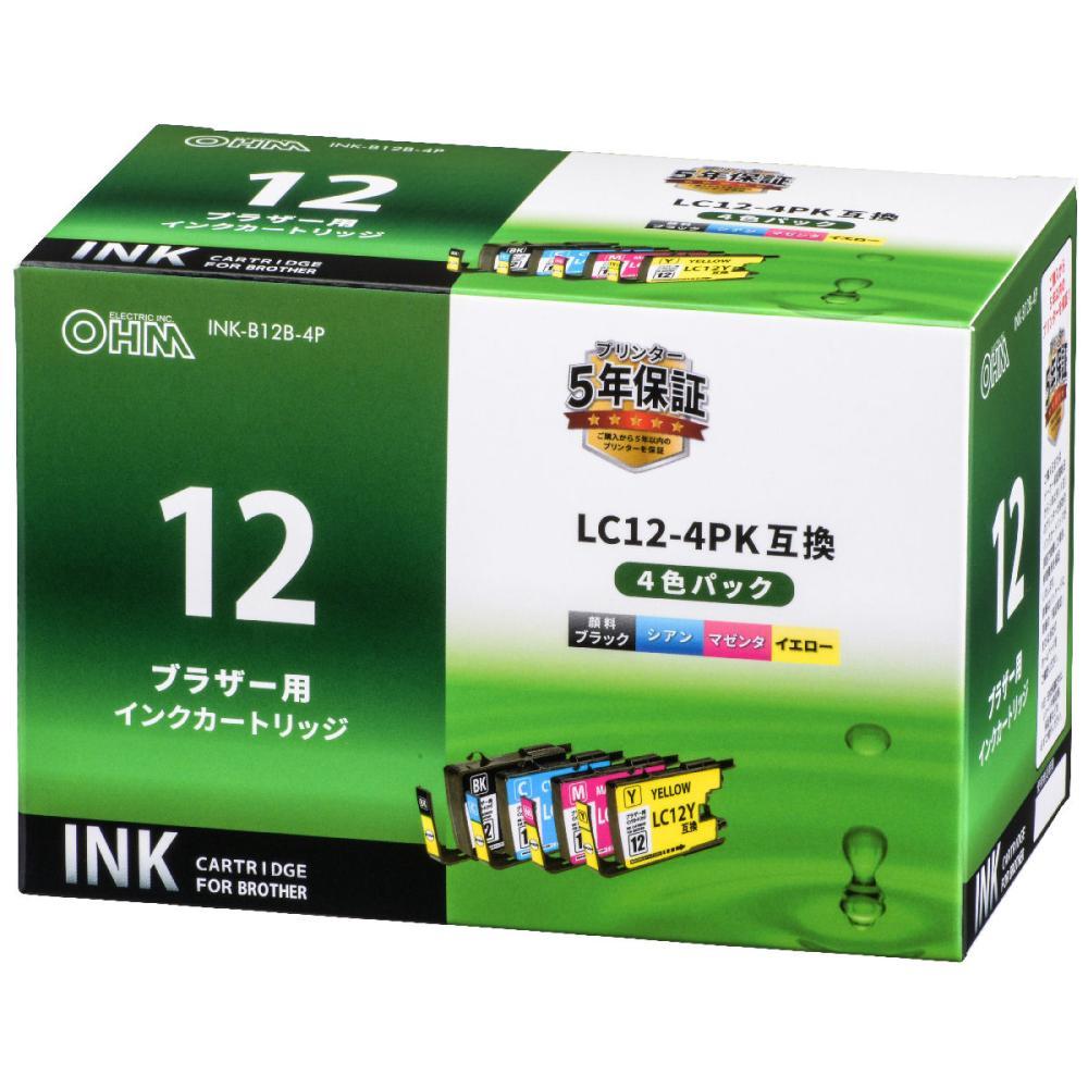 オーム電機 ブラザー 互換インクカートリッジ LC12用 4色パック