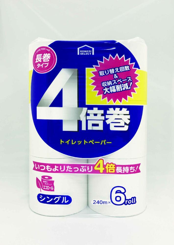 コメリセレクト 4倍巻トイレットペーパー 6ロール シングル 長尺