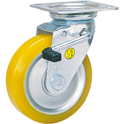 シシク 静電気帯電防止キャスター 自在ストッパー付 130径 ウレタン車輪_
