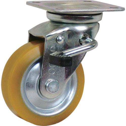 シシク 静電気帯電防止キャスター 自在ストッパー付 100径 ウレタン車輪_