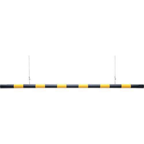 緑十字 高さ制限バー 黄/黒 54mm×2m 取付用ワイヤー付 ABS樹脂_