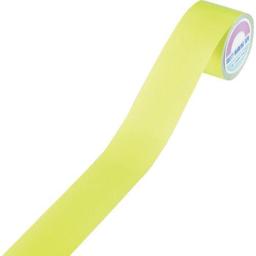 緑十字 ラインテープ(反射) 蛍光黄 50mm幅×10m 屋内用 ポリエステル_